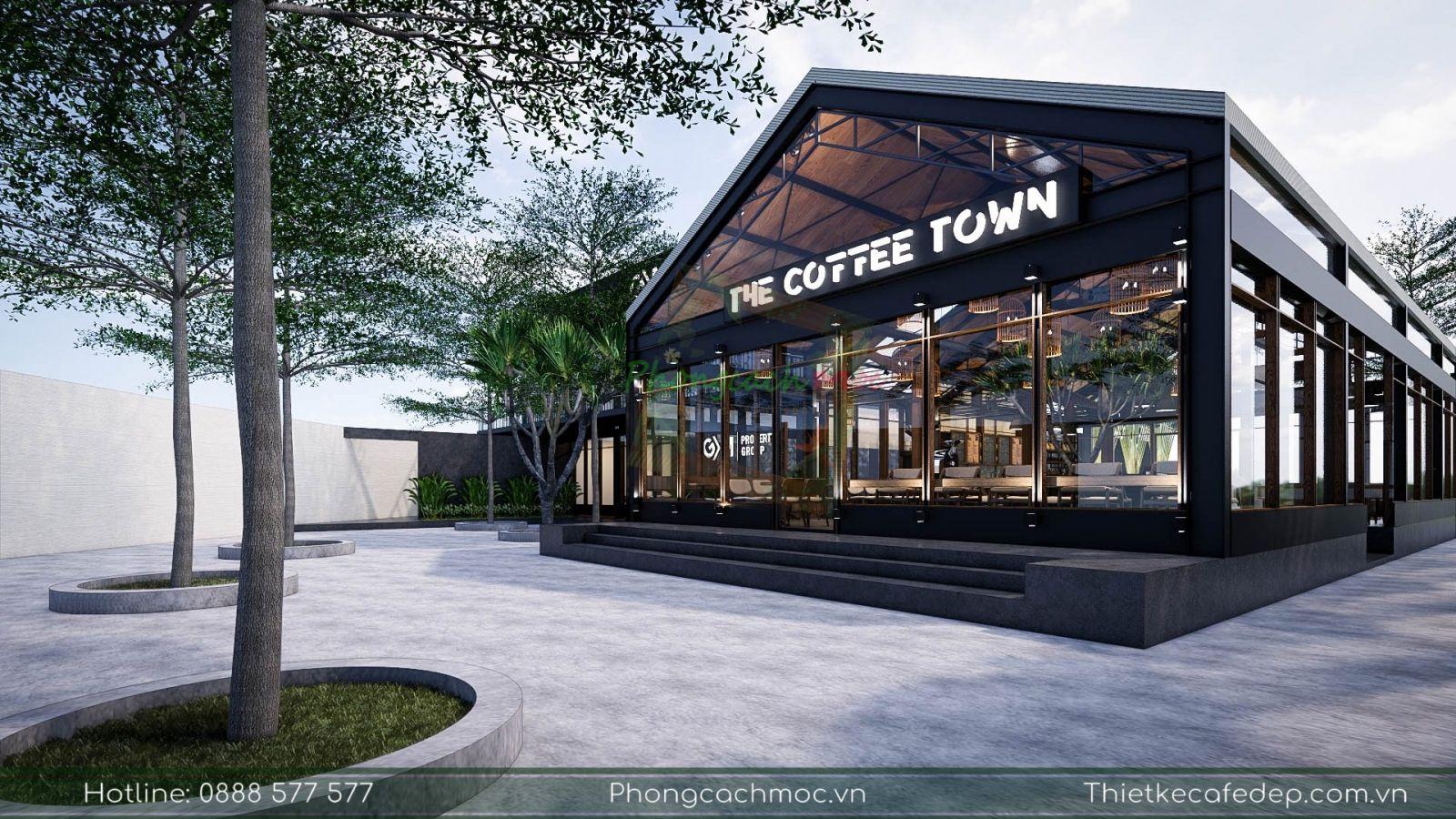 thiết kế không gian ngoài trời quán cafe