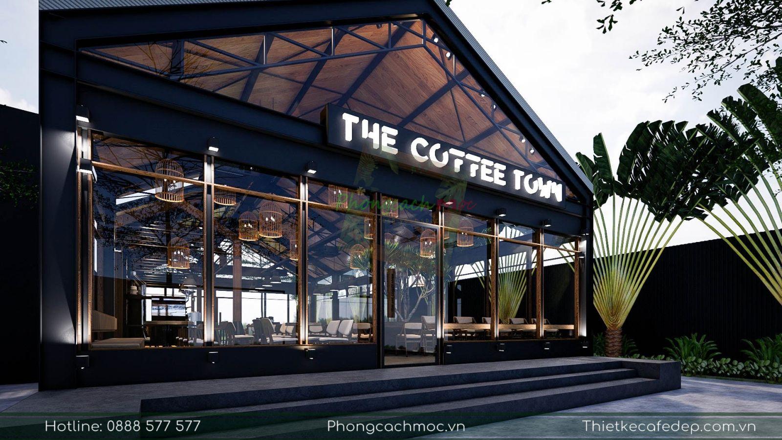 thiết kế sử dụng cây cọ cho quán cafe tạo không khí xanh