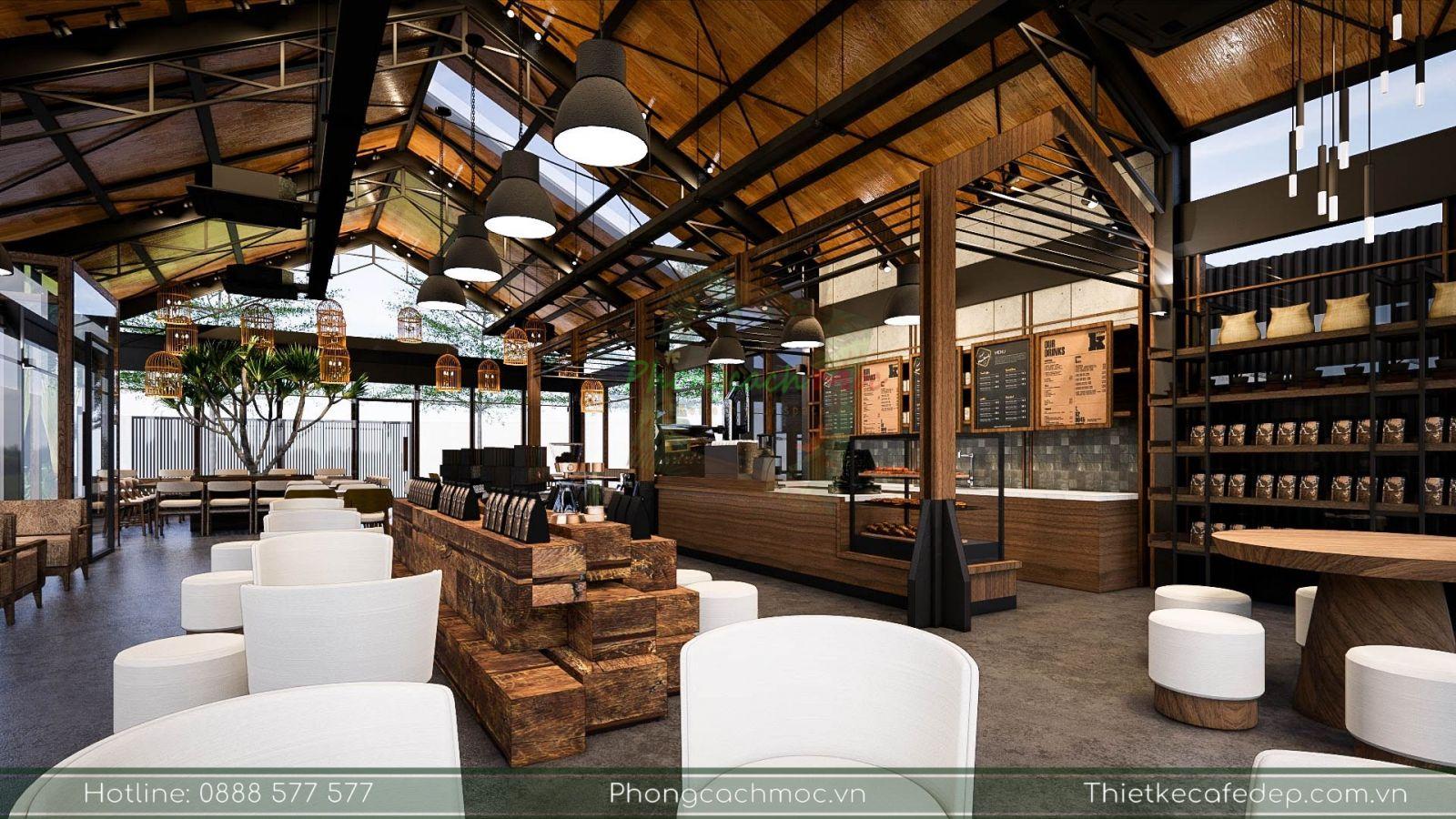thiết kế nội thât quán cafe chủ đề industrial