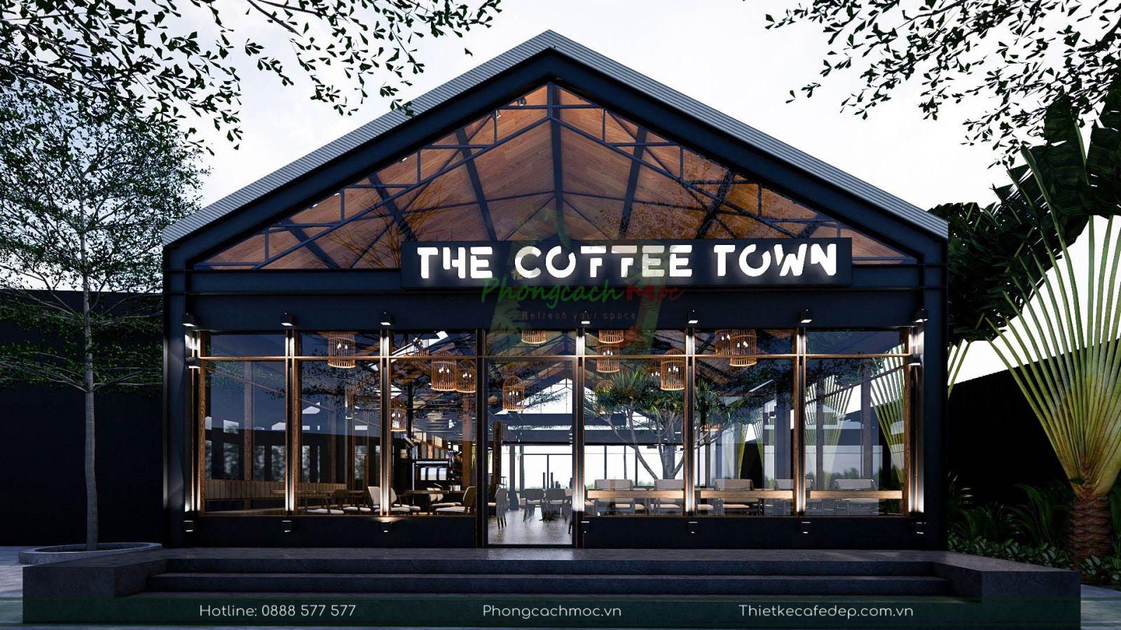 thiết kế quán cafe industrial - the coffee town tại quận 7