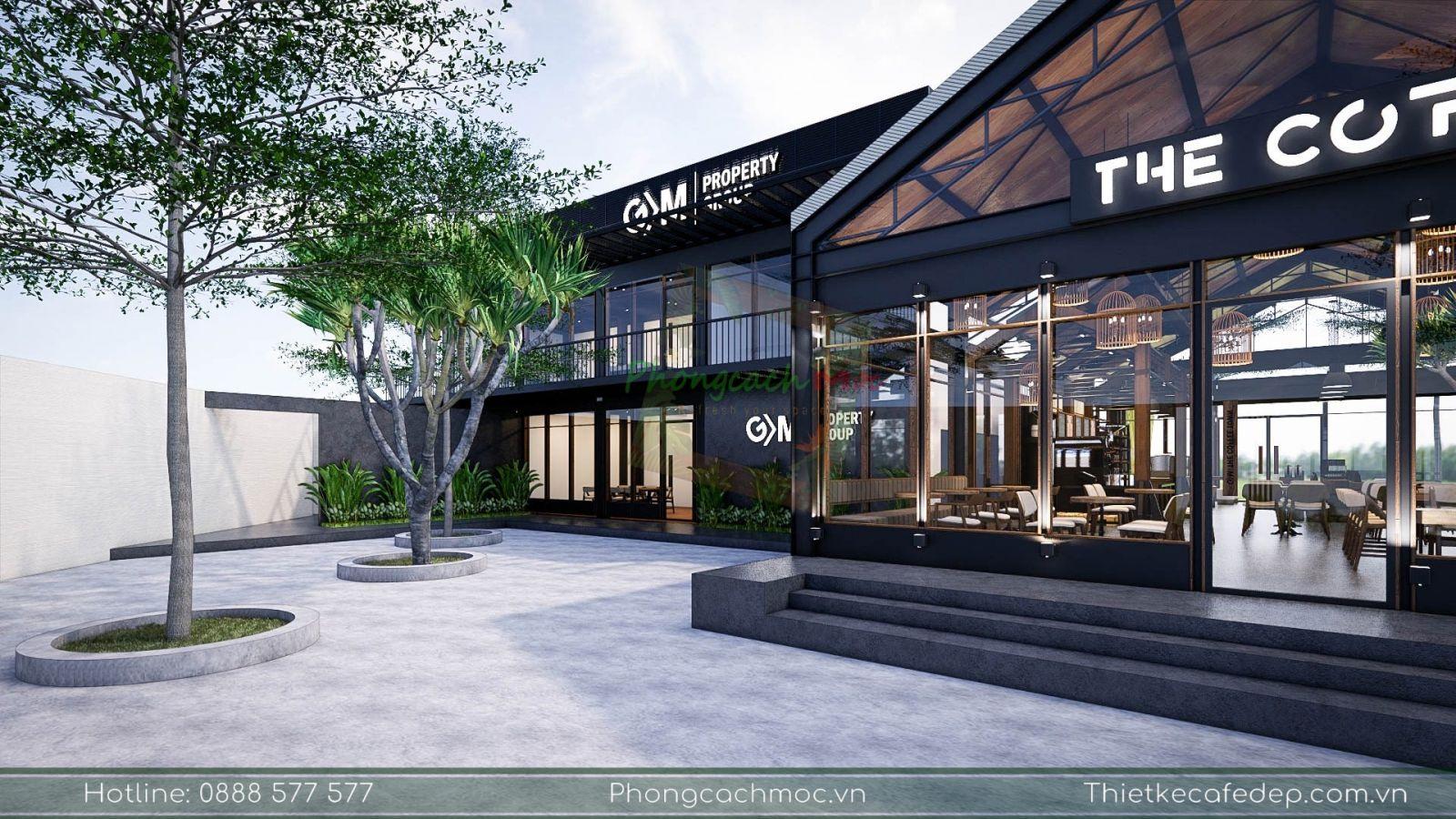 thiết kế văn phòng làm việc kết hợp với quán cafe the coffee town
