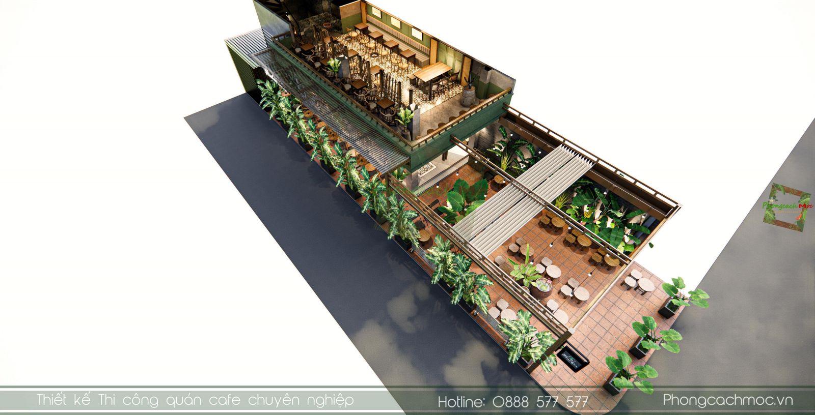 thiết kế quan cafe Bashin Coffee diện tích 300m2