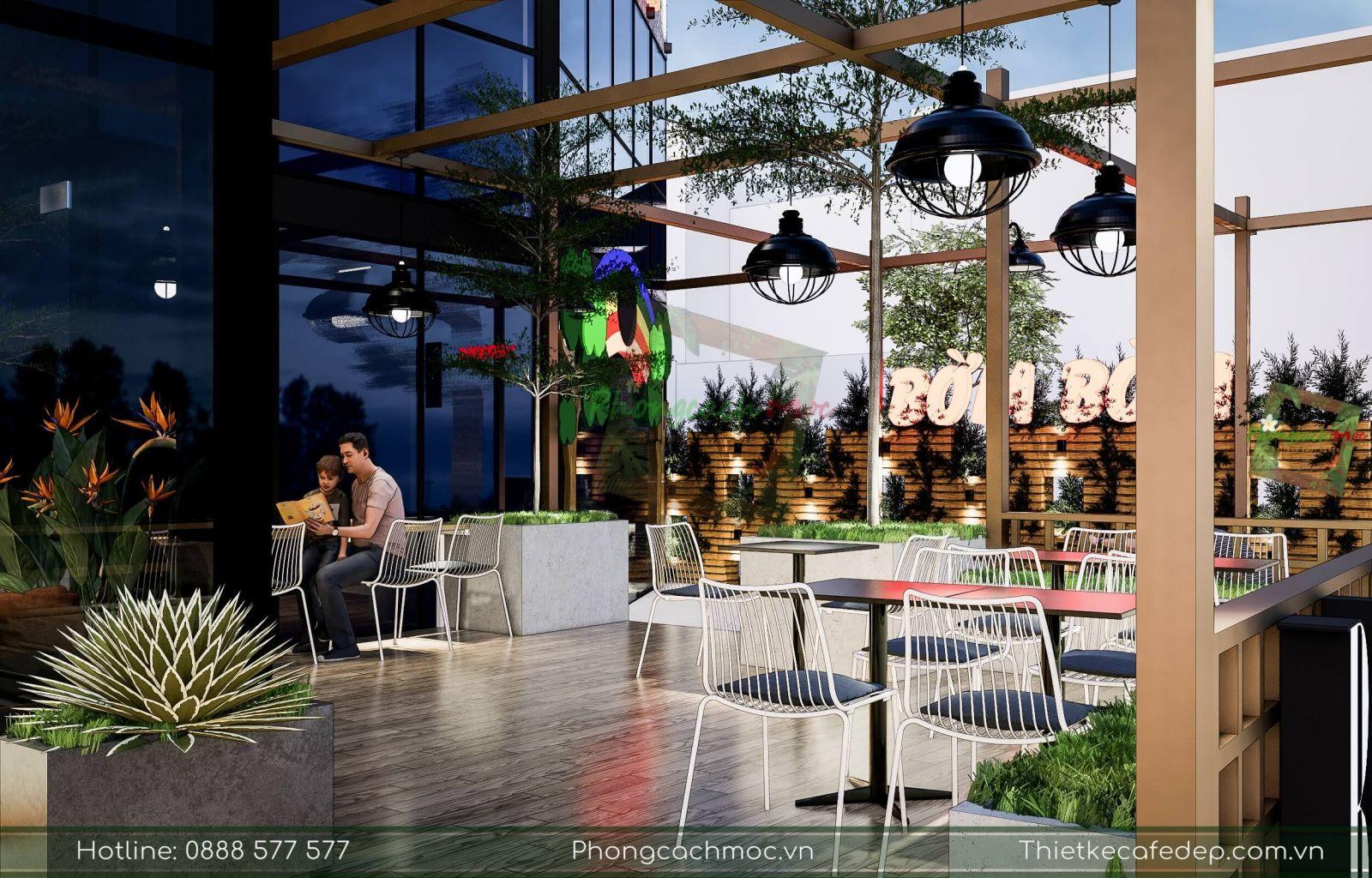 thiết kế không gian nội thất ngoài trời quán cafe diện tích 200m2