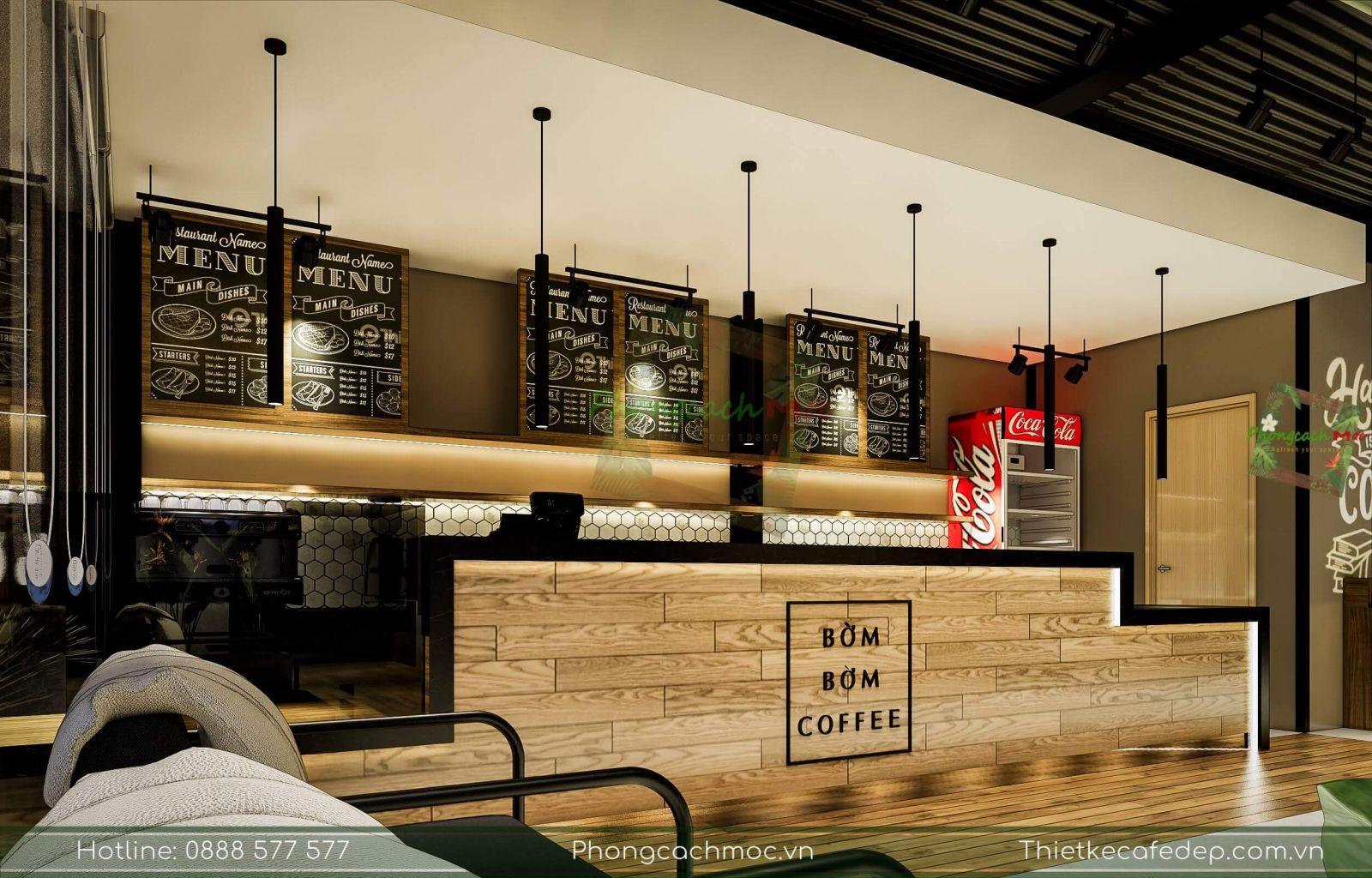 thiết kế khu vực quầy bar quán cà phê
