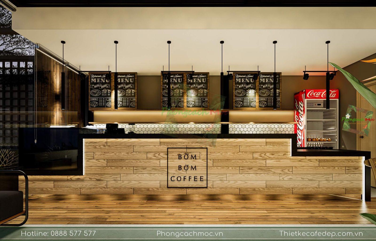 pcm thiết kế quầy bar gỗ nội thất quán cafe