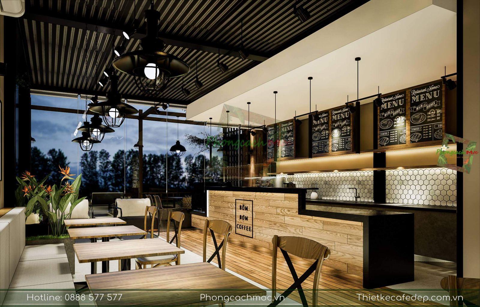thiết kế không gian quầy bar pha chế quán cafe