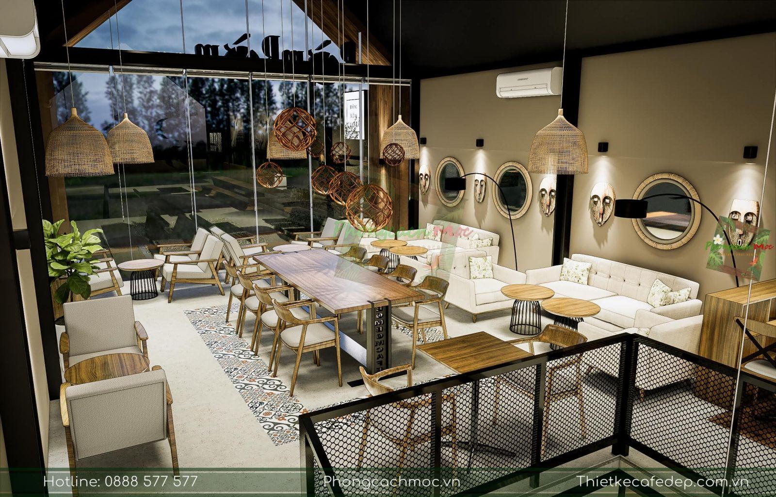 thiết kế bày trí bàn ghế nội thất tầng 2 quán cafe