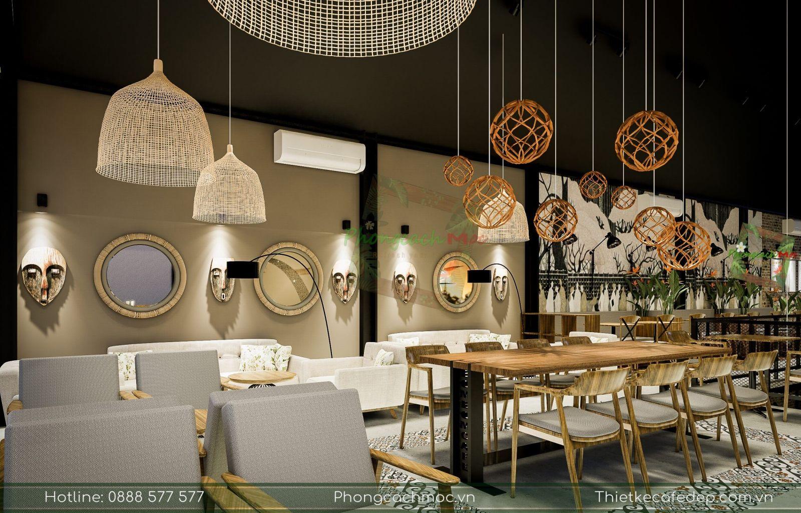 sử dụng đèn chùm độc đáo cho nội thất quán cà phê bờm bờm