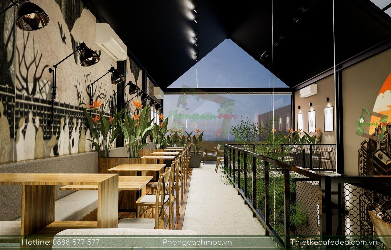 thiết kế quán cafe tận dụng ánh sáng tự nhiên