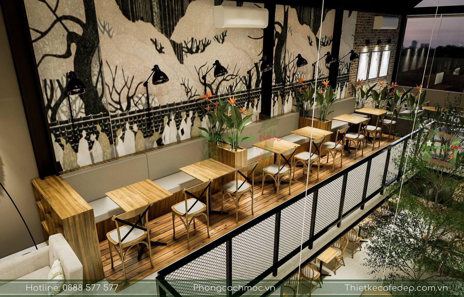 không gian nội thât tầng 1 quán cafe diện tích 200m2