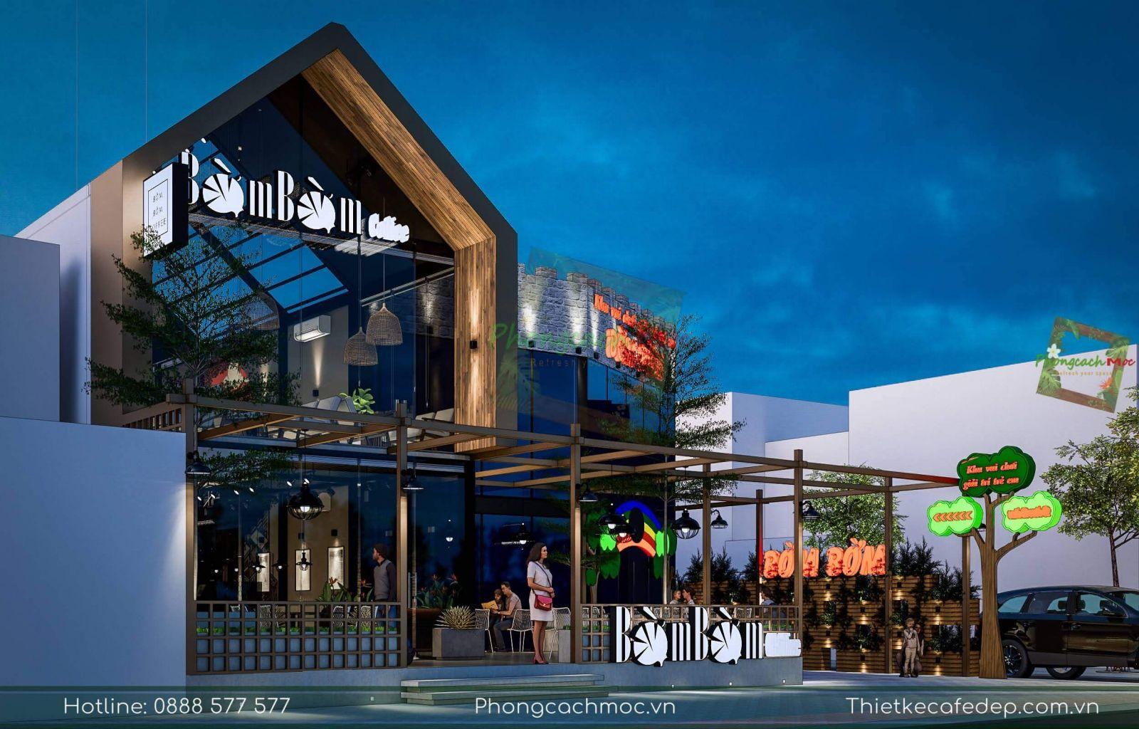 thiết kế quán cafe mô hình mới