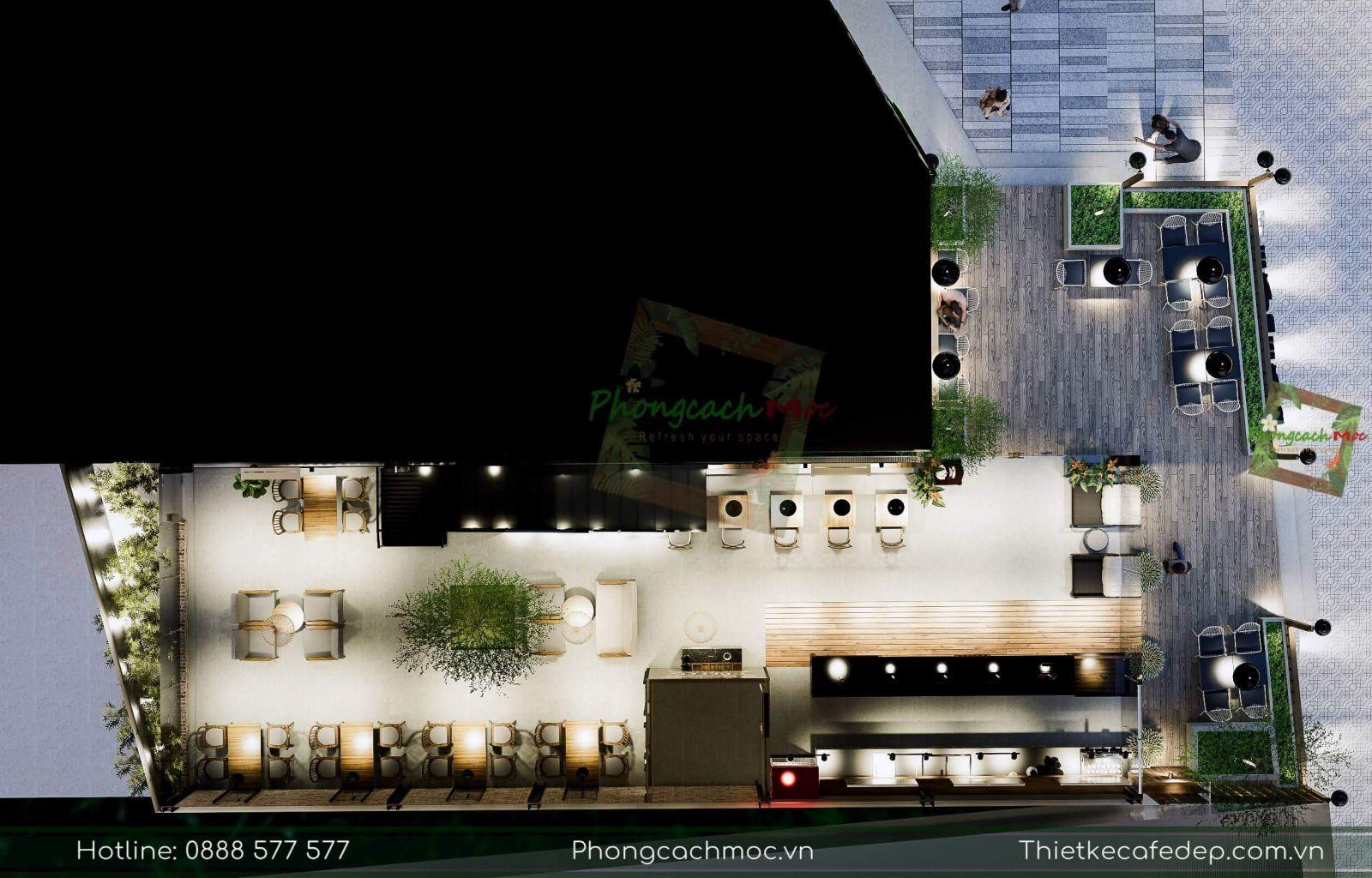 layout 2D quán cafe bờm bờm tại tiền giang