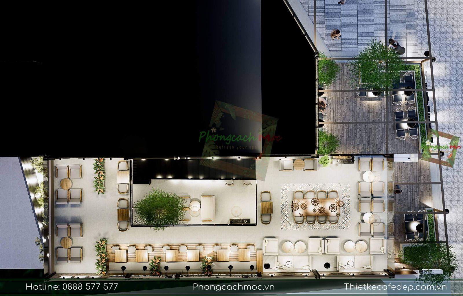 phân khu chức năng quán cafe bờm bờm tại tiền giang