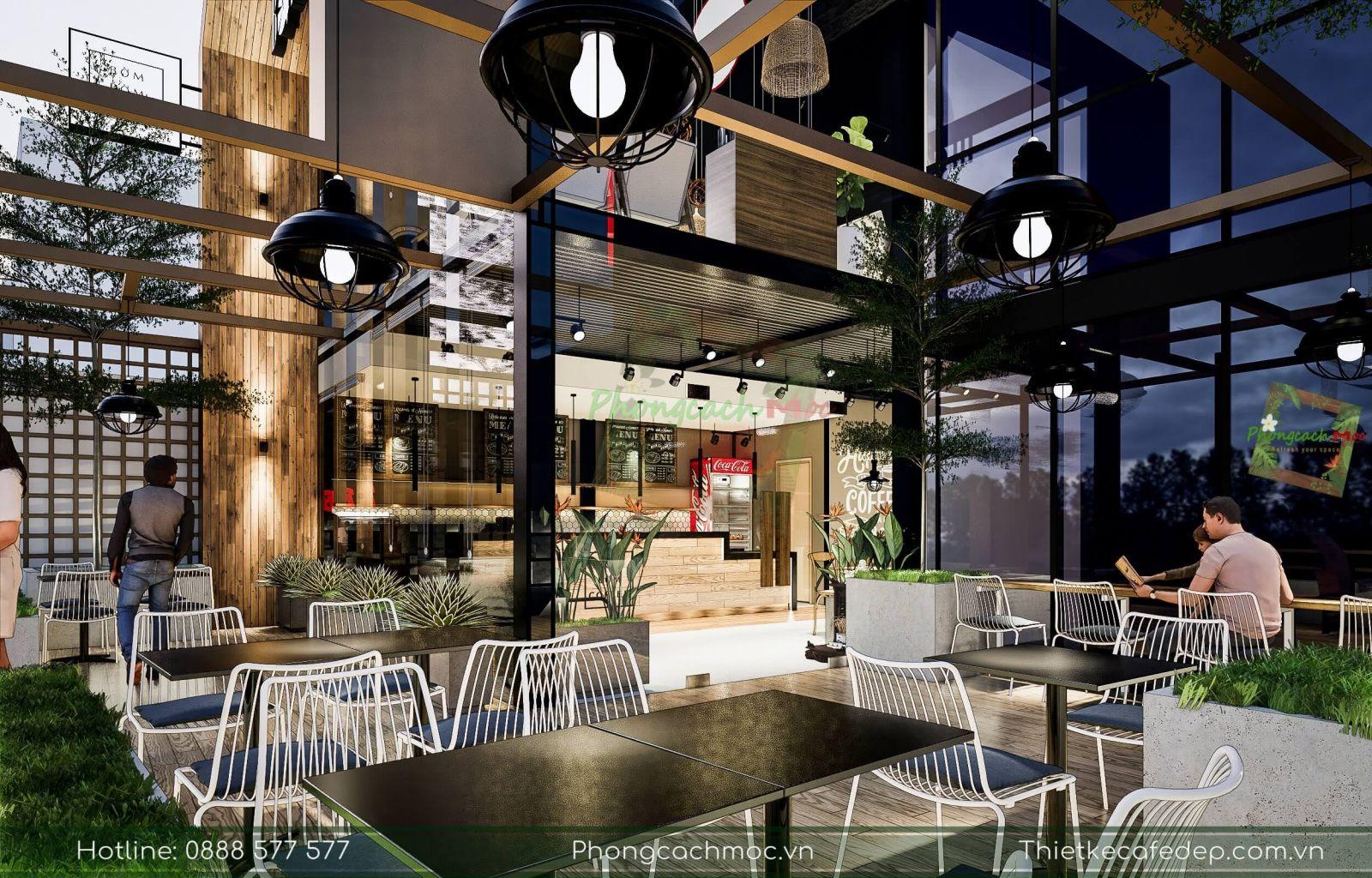 thiết kế không gian ngoài trời quán cà phê diện tích 200m2