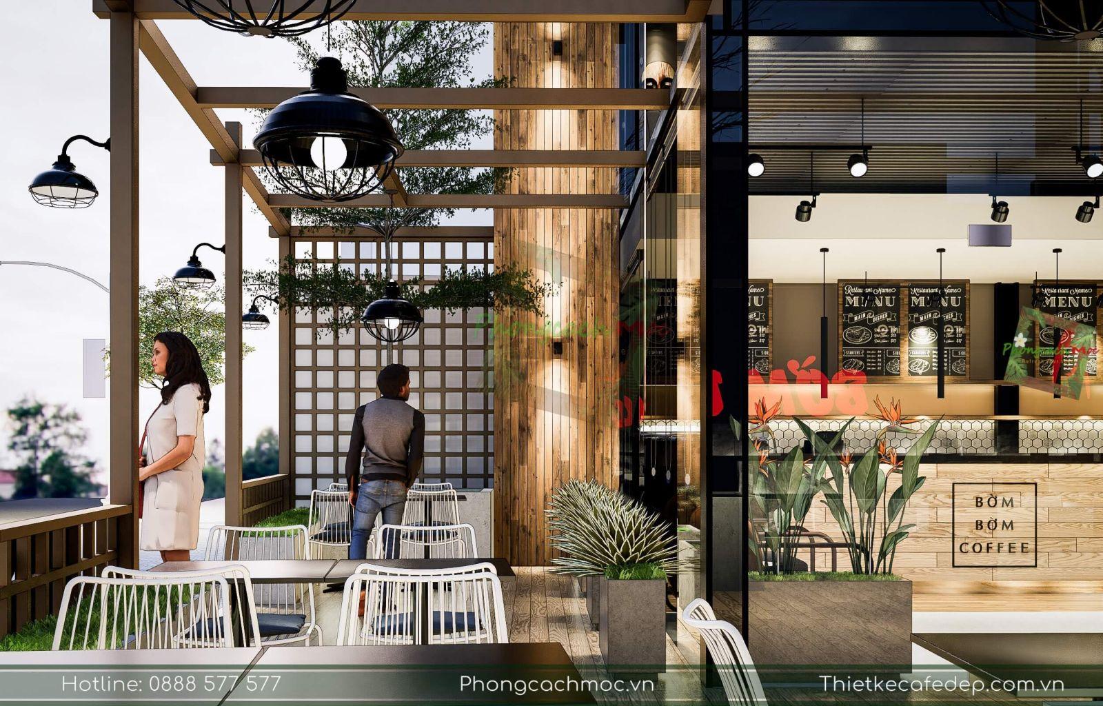 thiết kế quán cafe chủ đề industrial