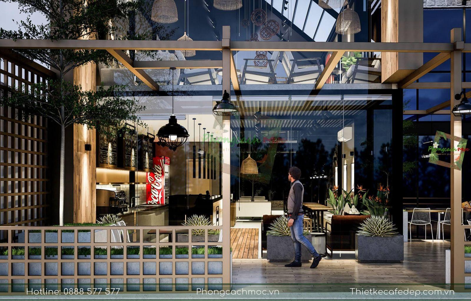 thiết kế quán caf e chủ đề nhà thép tiền chế