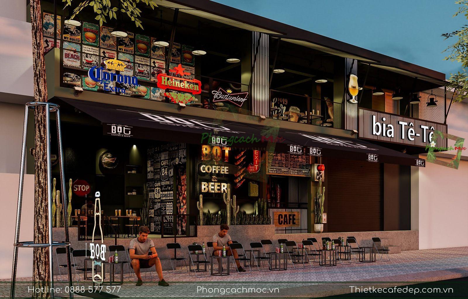 thiết kế dự án quán cafe 2 tầng tại gò vấp