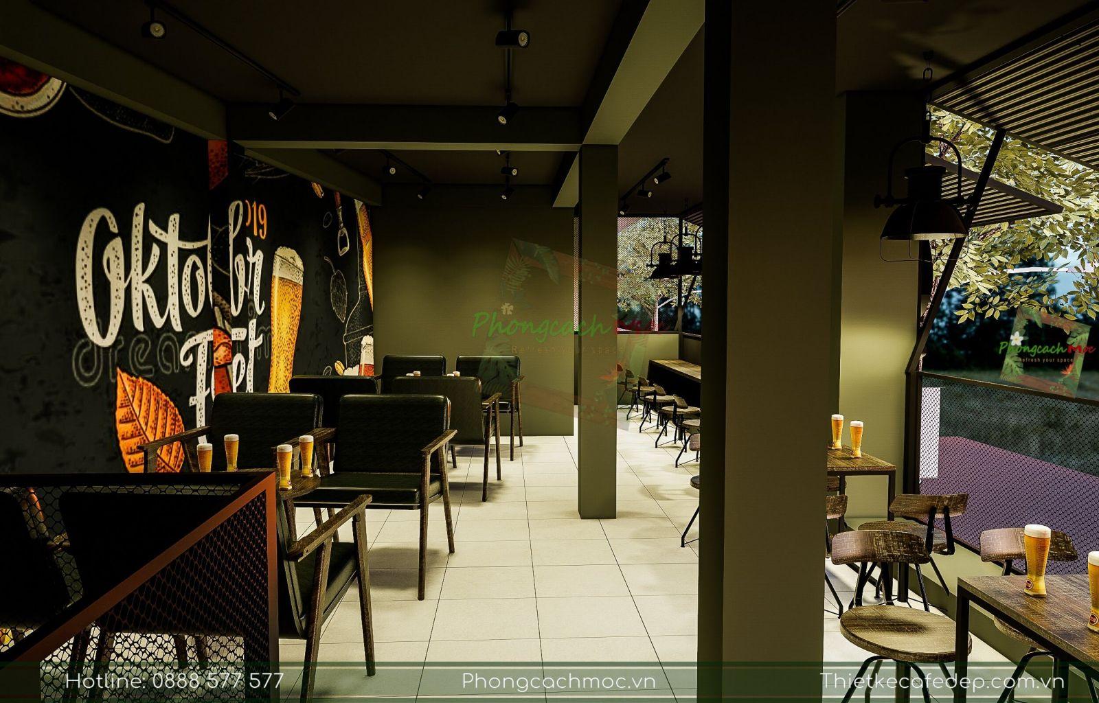 không gian nội thất tầng 2 quán cafe kết hợp bia do pcm thực hiện