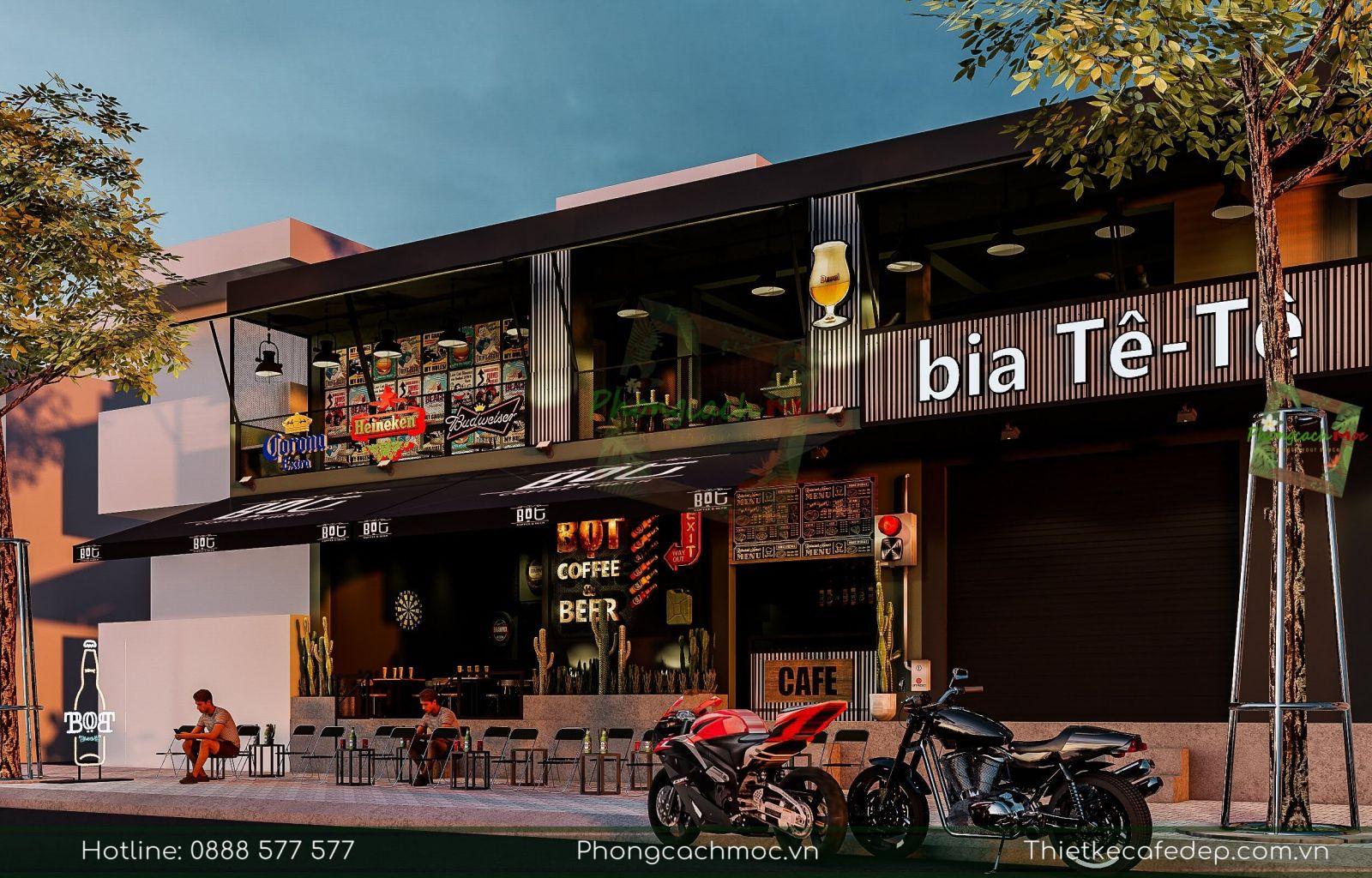 pcm thiết kế quán cafe kết hợp bia bọt coffee and beer tại phạm văn đồng, gò vấp