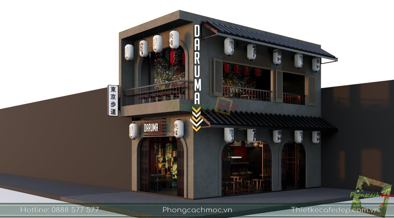 thiết kế quán cafe diện tích 100m2 2 mặt tiền