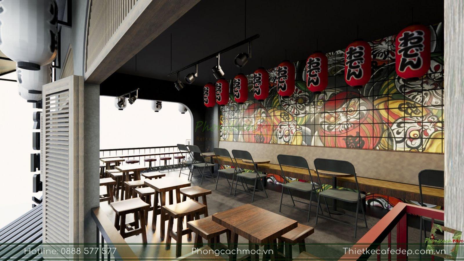 thiết kế sử dụng bàn ghế nội thất quán cà phê diện tích nhỏ
