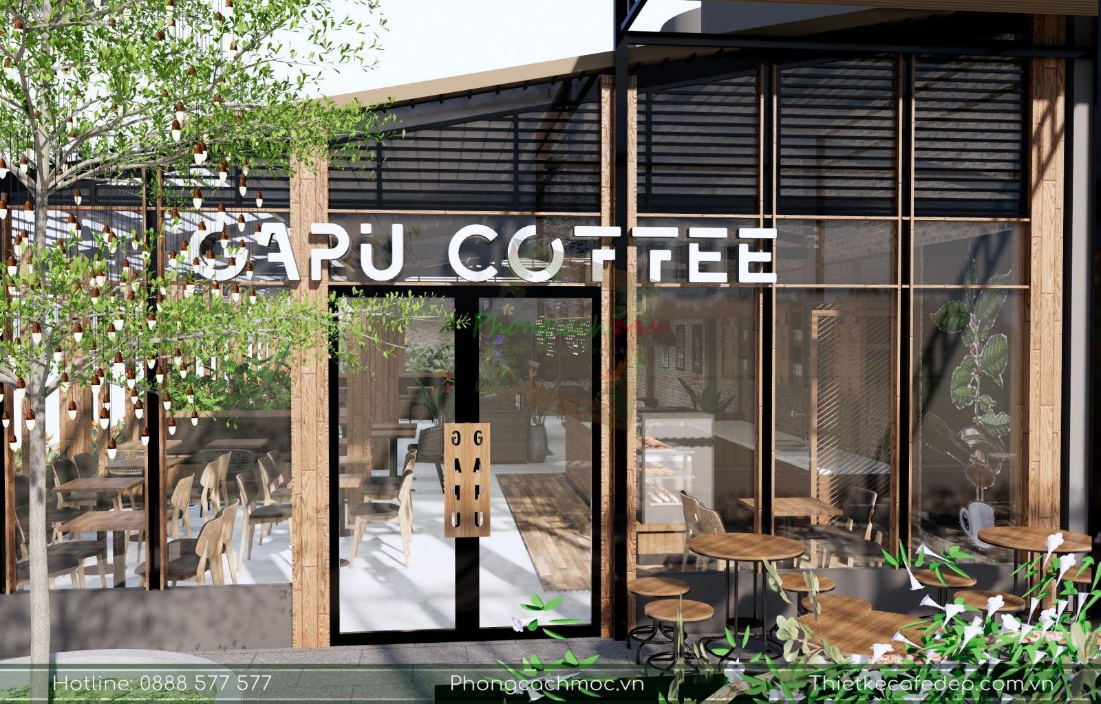 dự án thiết kế quán cafe 2 mặt tiền gapu coffee