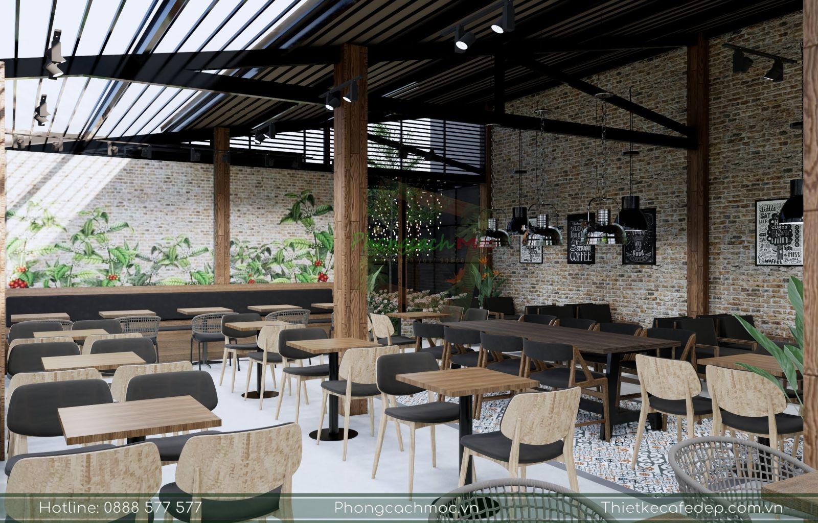 pcm thiết kế đưa mẫu bàn ghế gỗ mc149 cho quán cafe gapu coffee