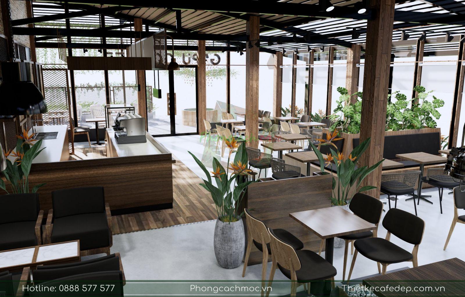 thiết kế khu vực quầy bar phục vụ quán cafe 2 mặt tiền tai bình phước