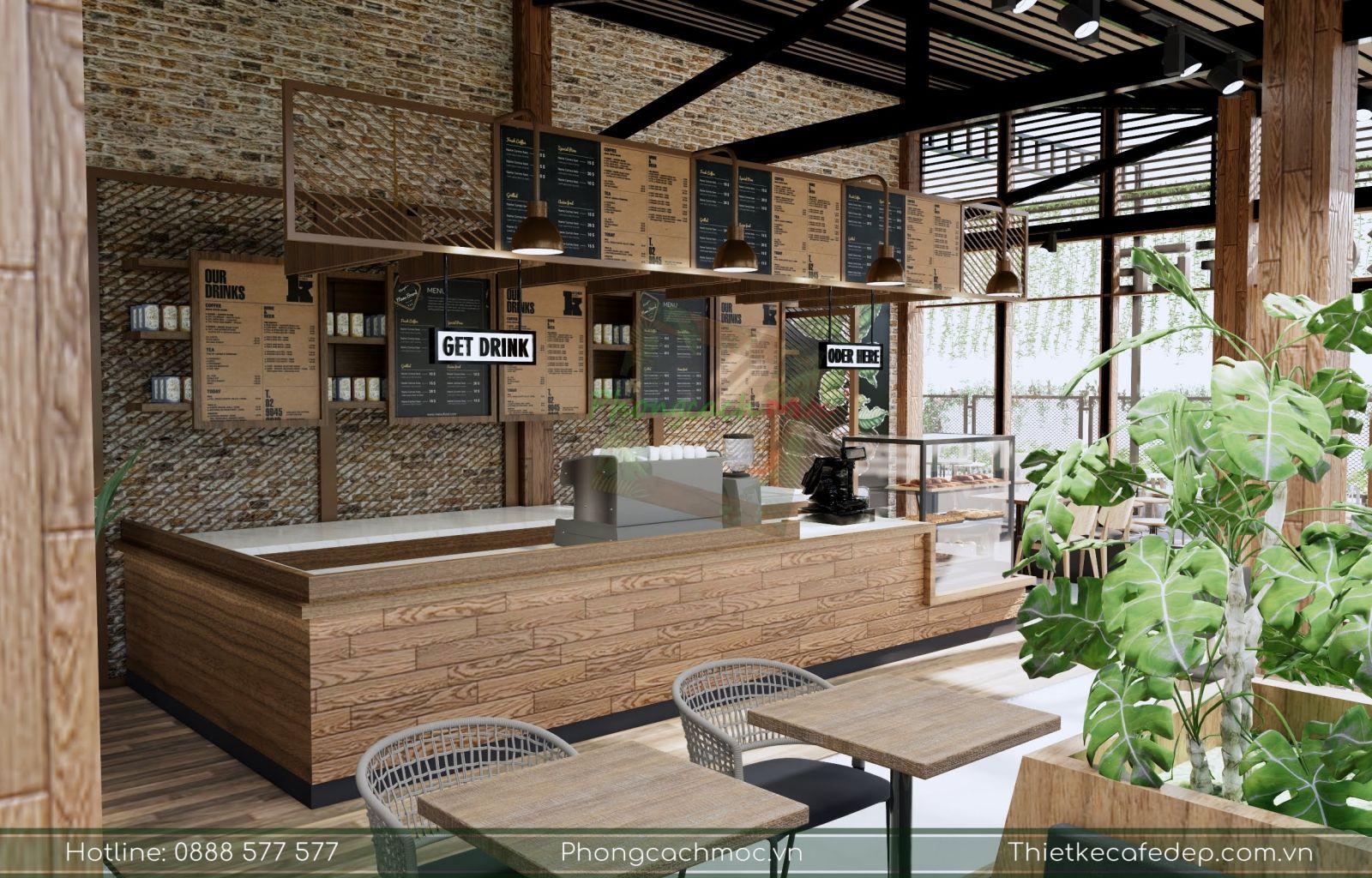 khu vực quầy bar ốp gỗ tại quán cafe 2 mặt tiền