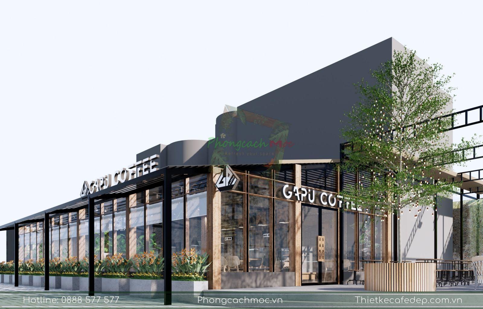 thiết kế quán cafe industrial tạo không gian mở