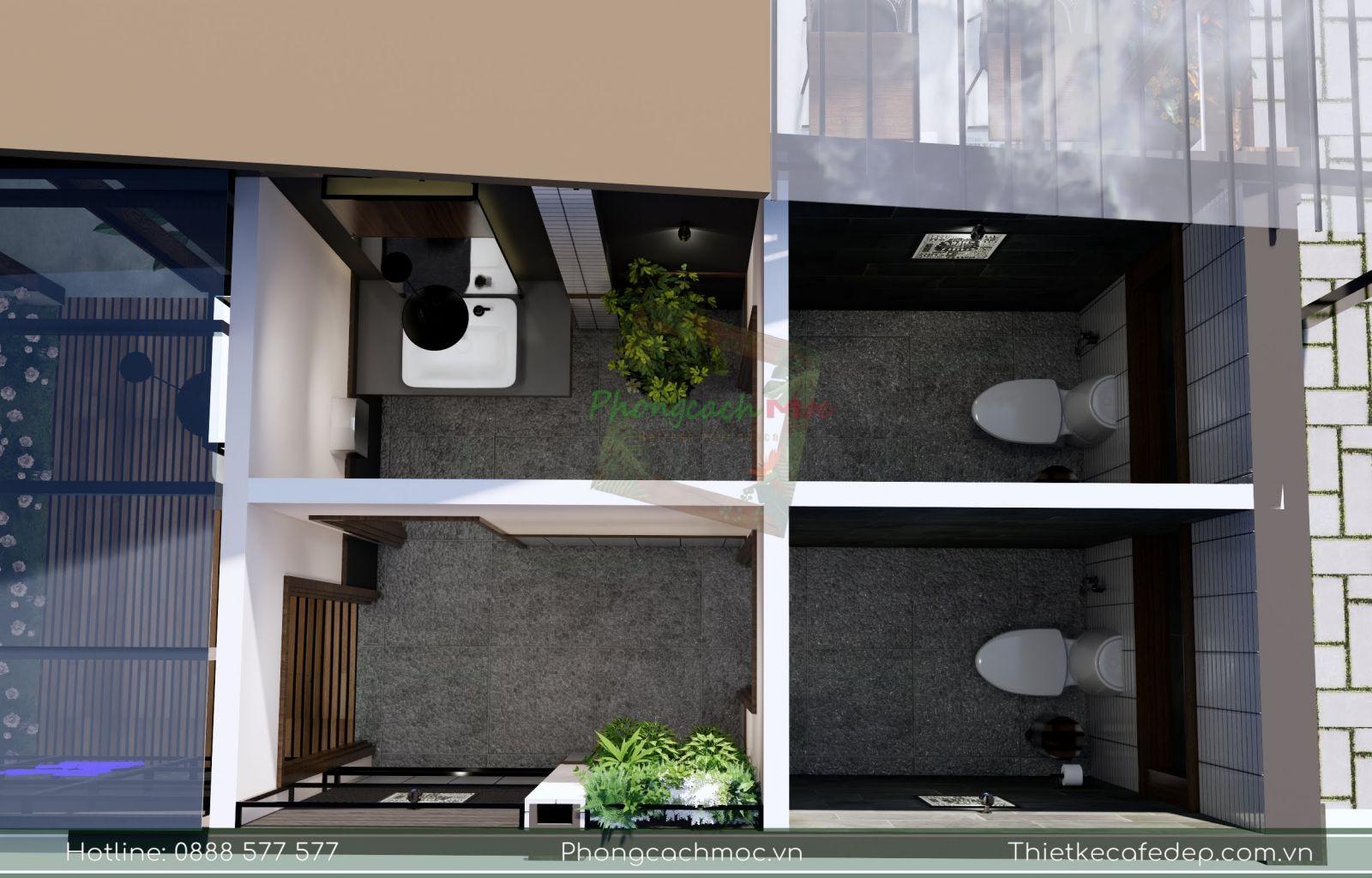phân chia khu vực nhà vệ sinh quán cafe
