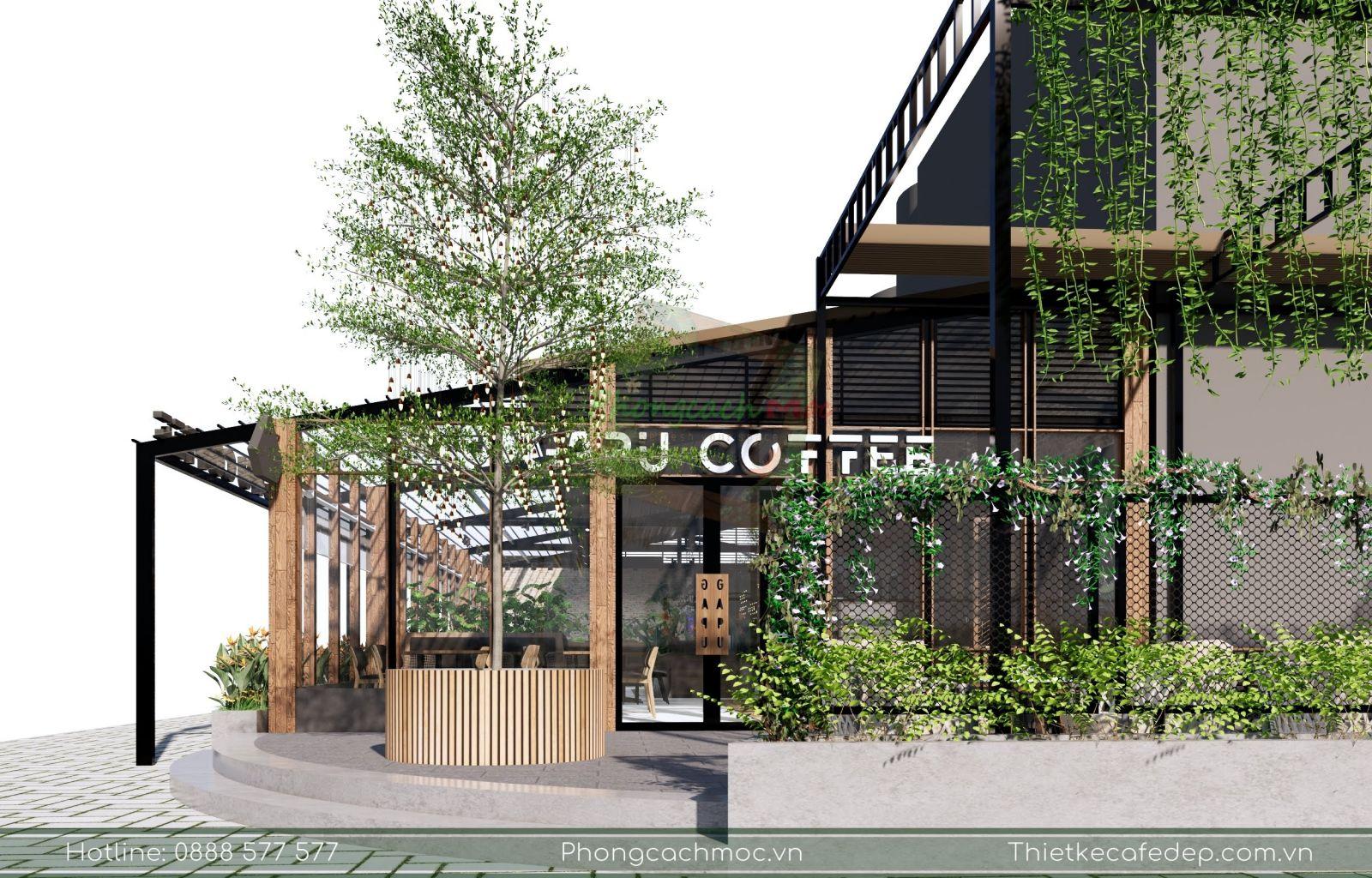 khu vực ngoài trời thiết kế nổi bật của quán gapu coffee