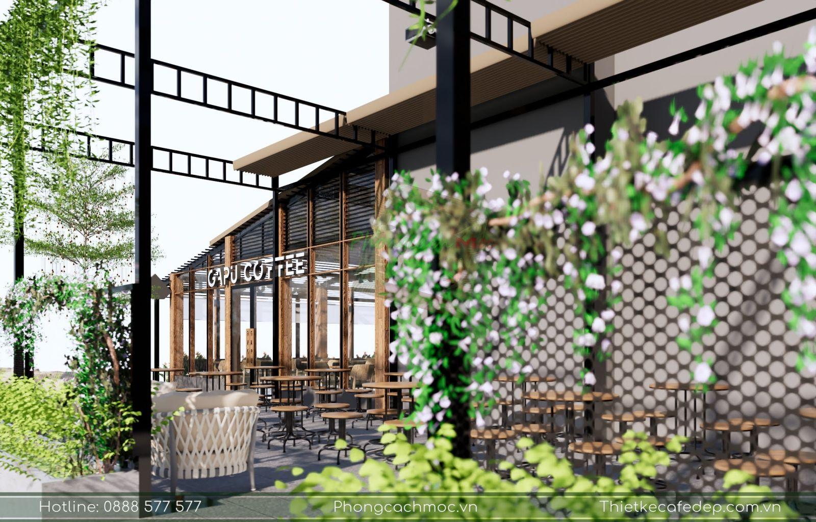 thiết kế không gian xanh cho quán cafe