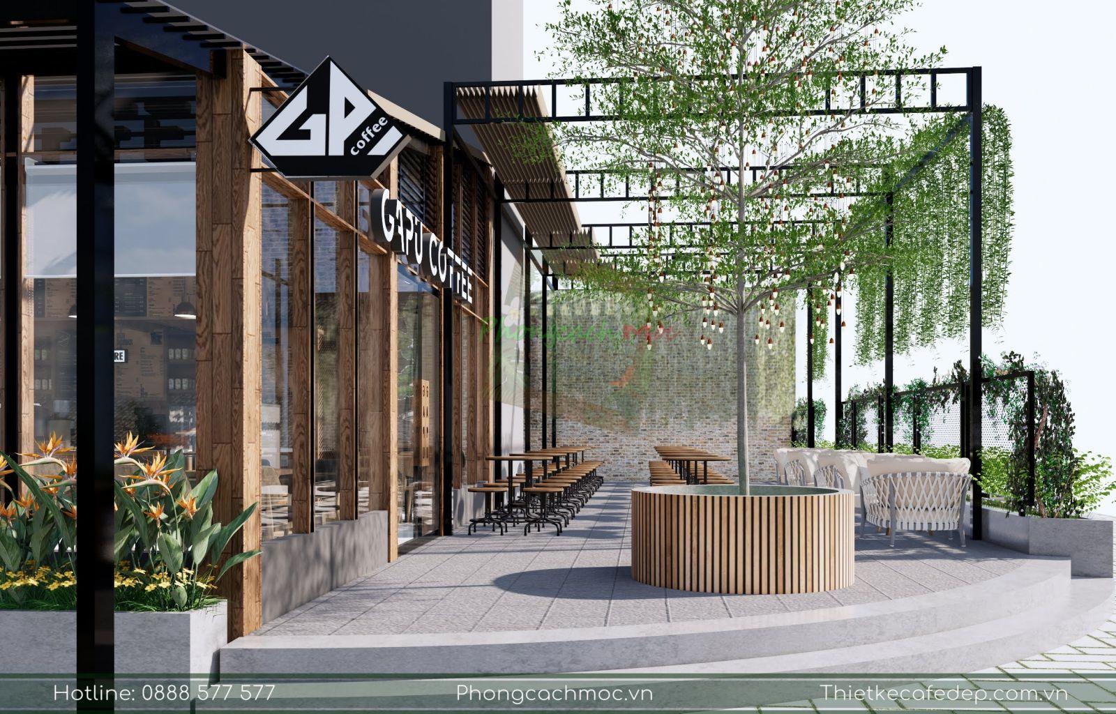 thiết kế khu vực ngoài trời quán cafe gapu coffee