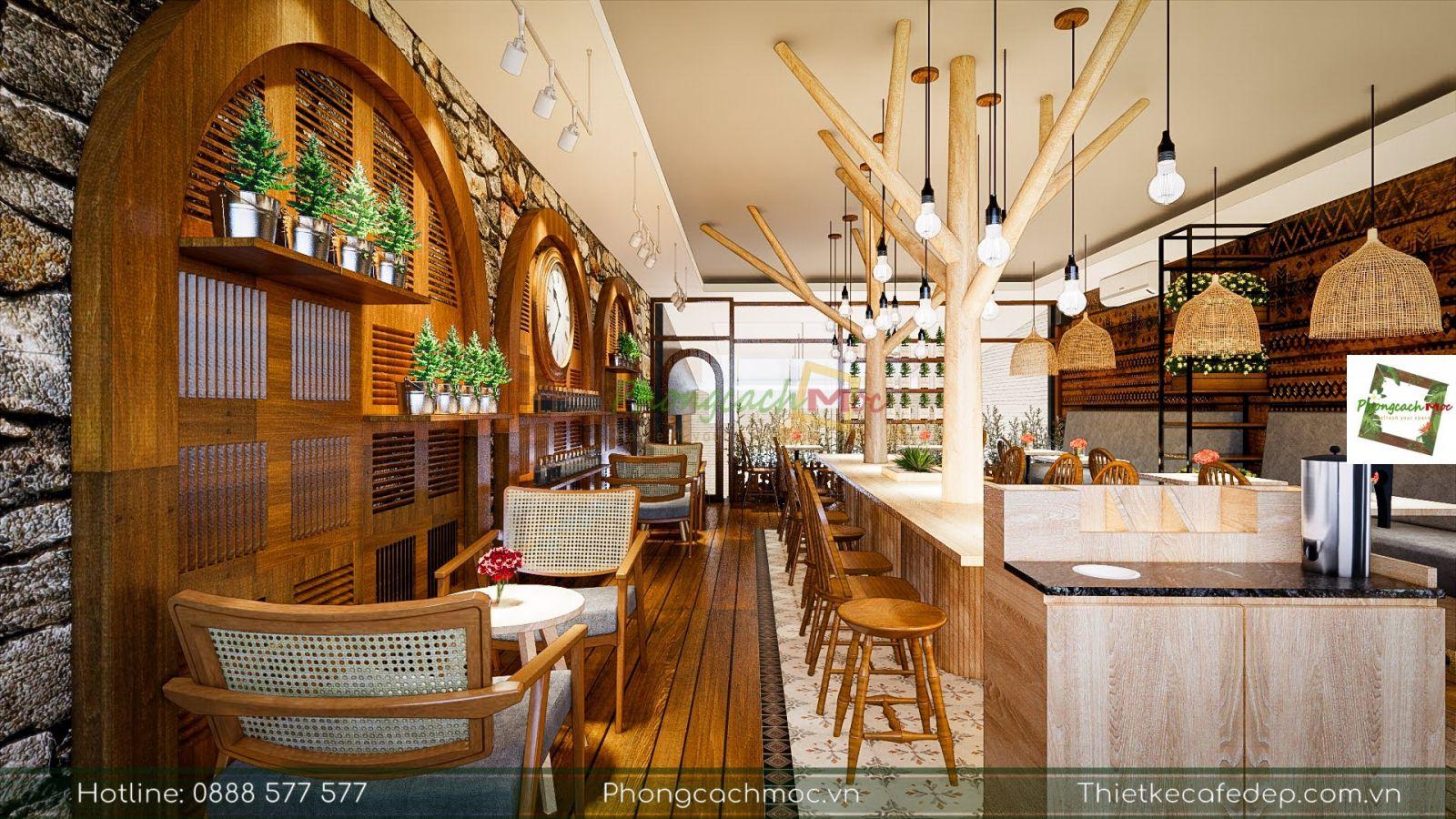 thiết kế bày trí bàn ghế nội thất quán cafe diện tích 100m2