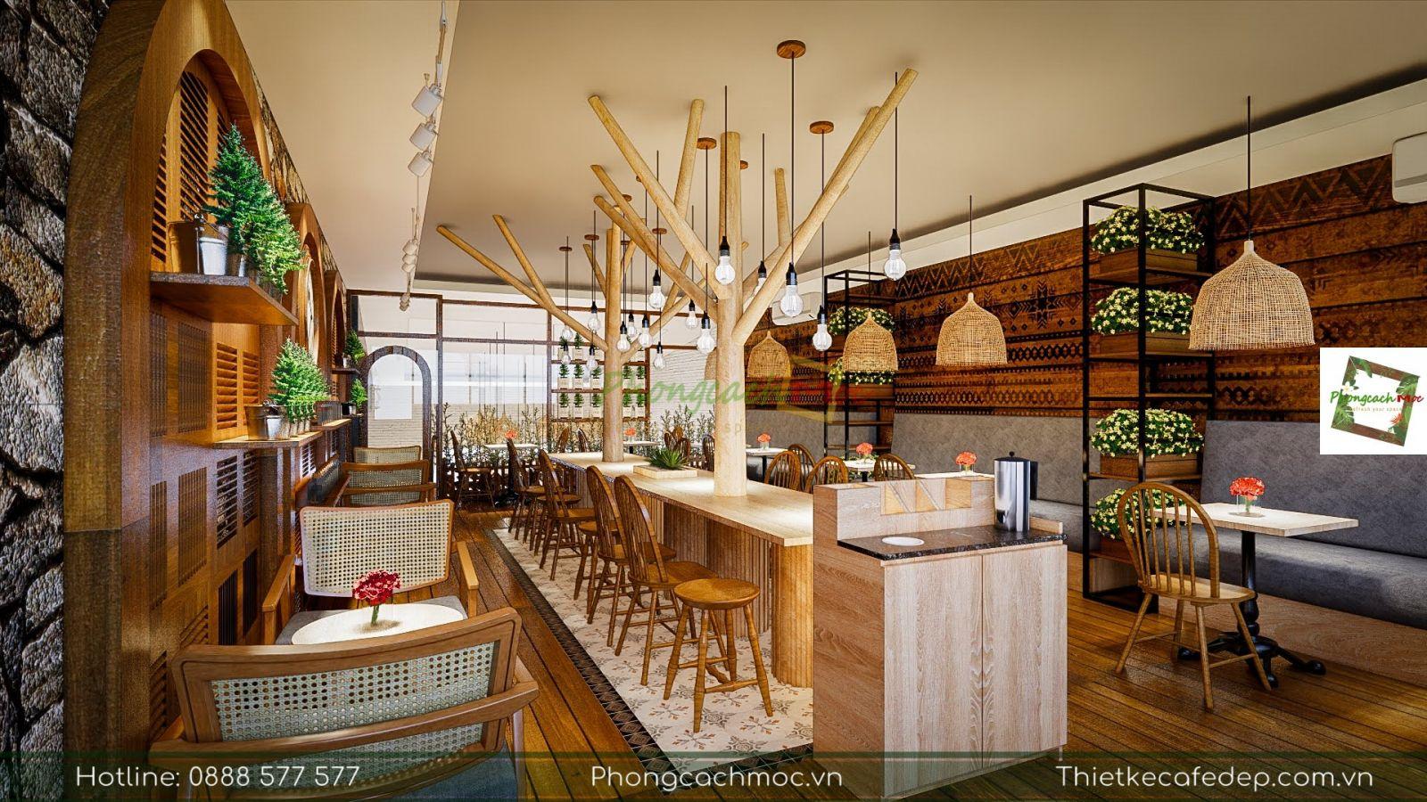 thiết kế quán cafe kết hợp tiệm bánh mix bakery