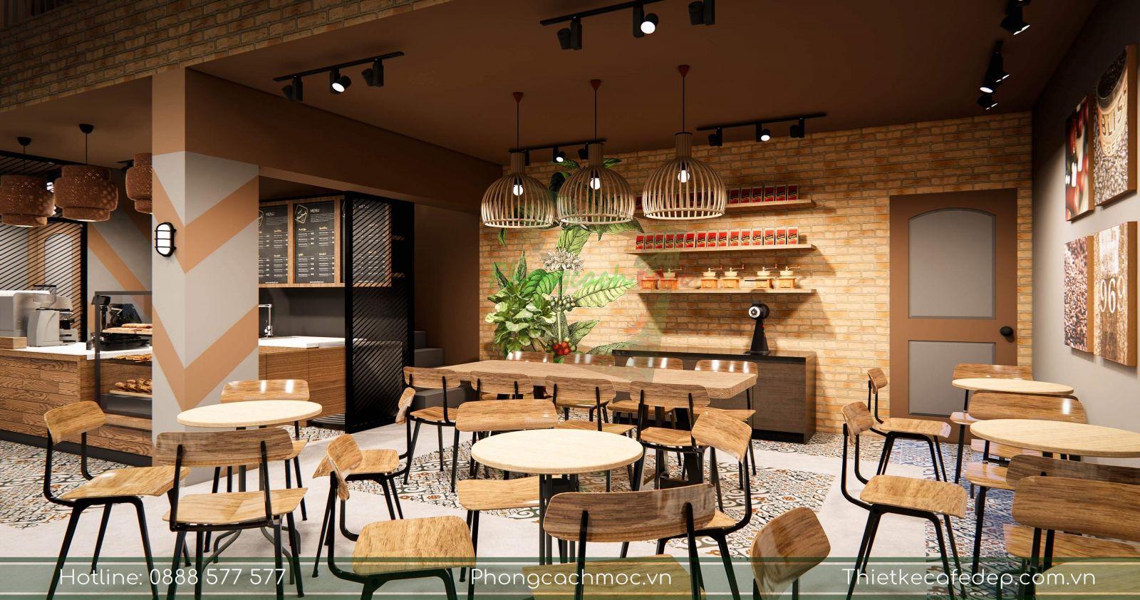 sử dụng bàn ghế cho quán cafe diện tích 110m2