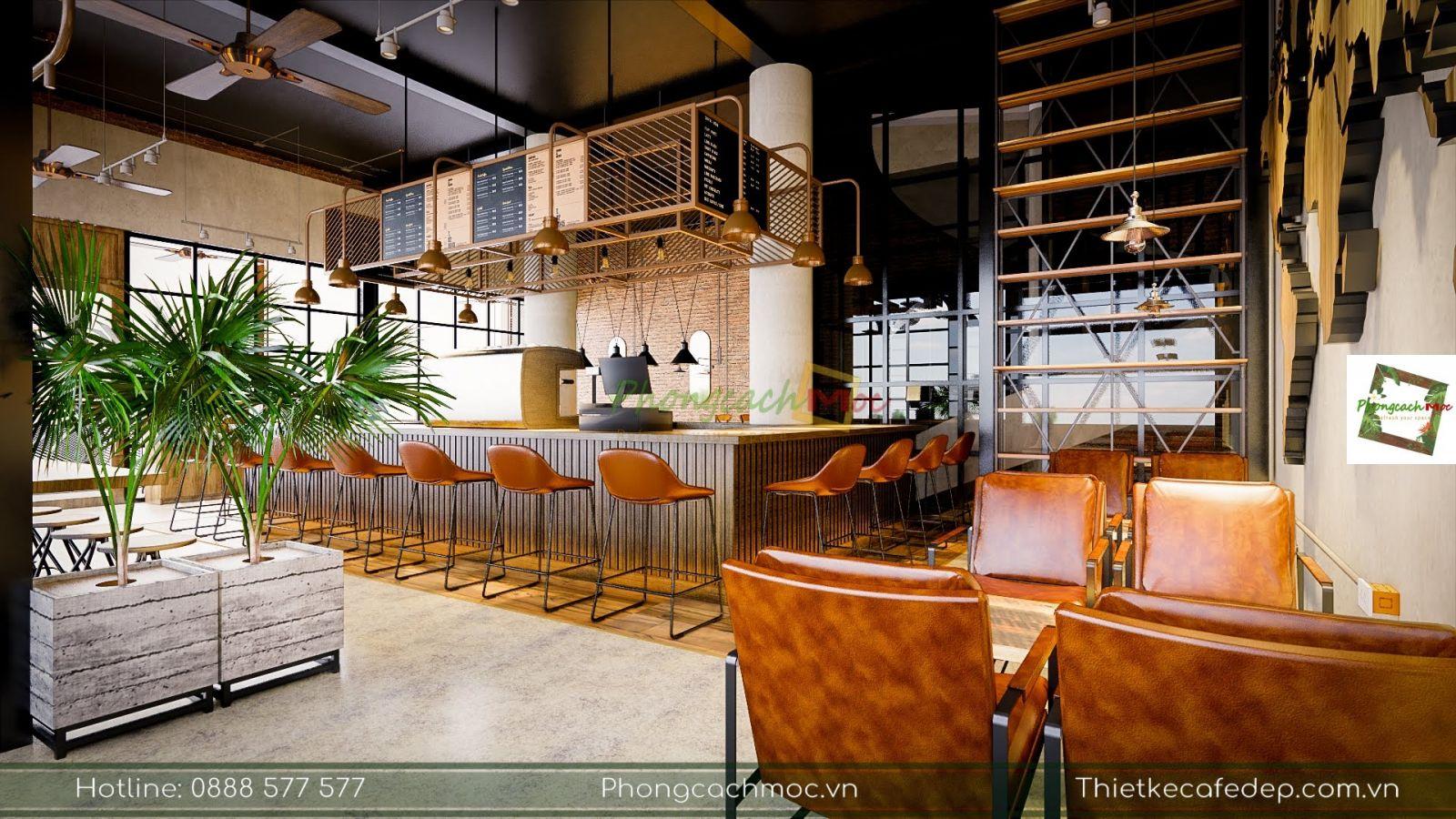 khu vực quầy bar quán cà phê 2 mặt tiền
