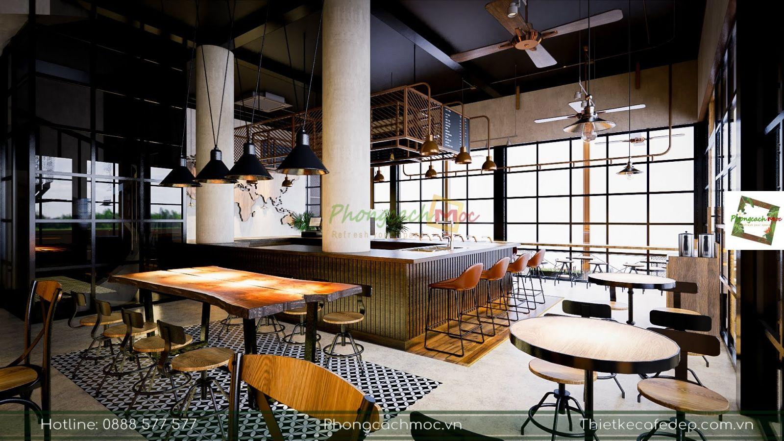 thiết kế phân chia không gian nội thất quán cafe 2 mặt tiền