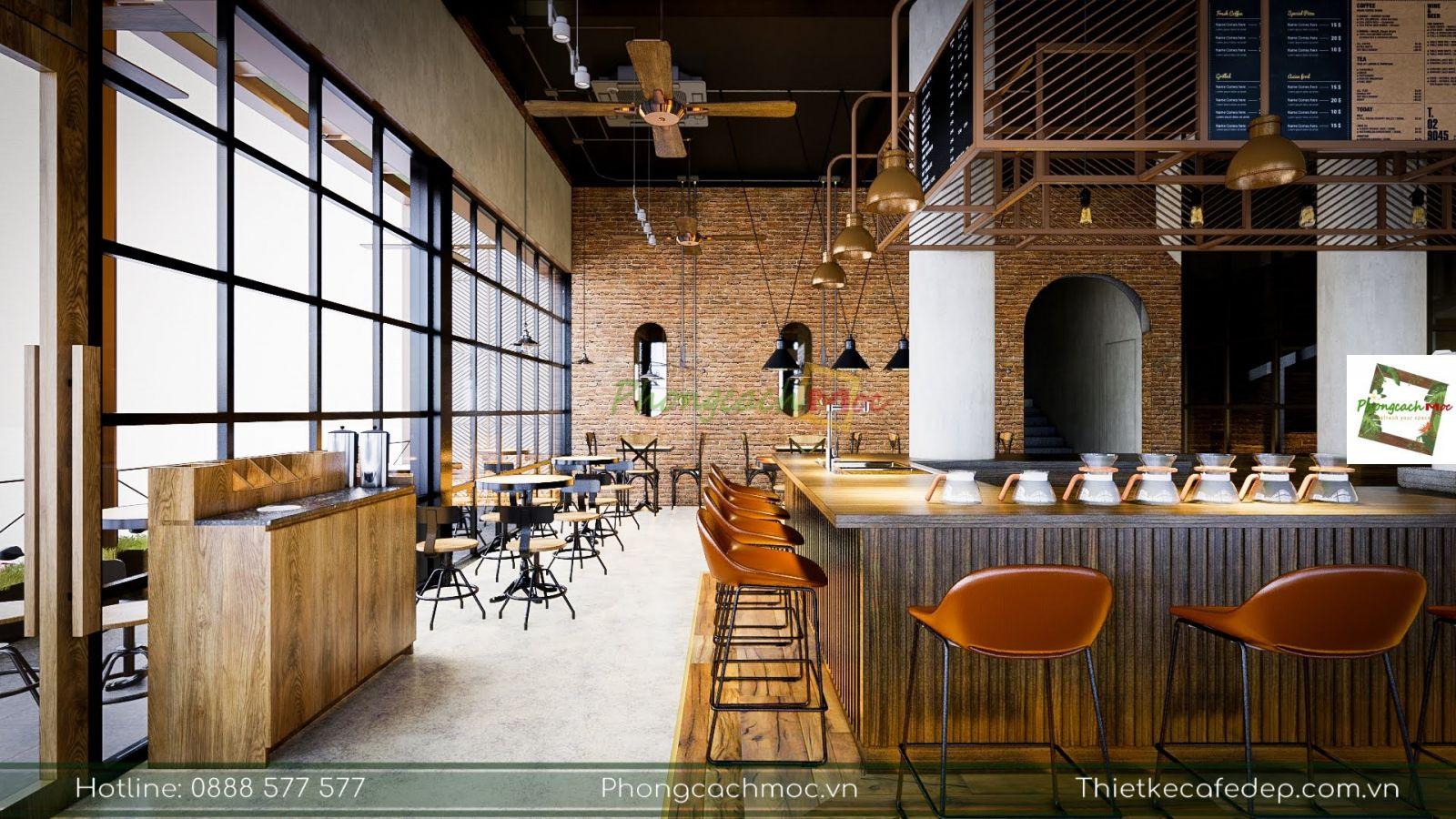 thiết kế khu vực quầy bar phục vụ