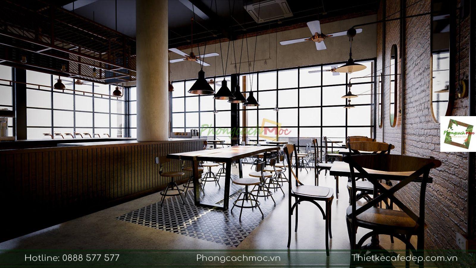 bày trí bàn ghế nội thất tại quán cafe
