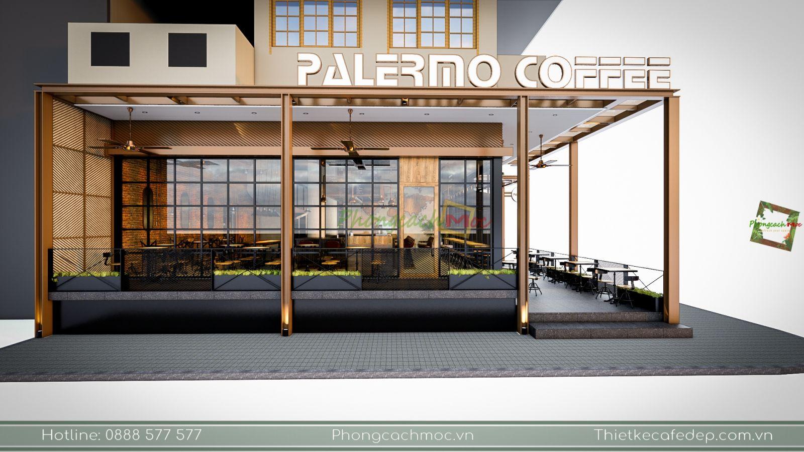 thiết kế không gian quán cafe chủ đề industrial