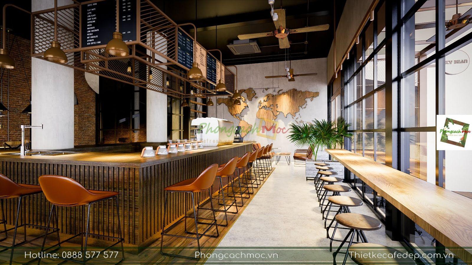 thiết kế nội thất quán cafe 2 mặt tiền