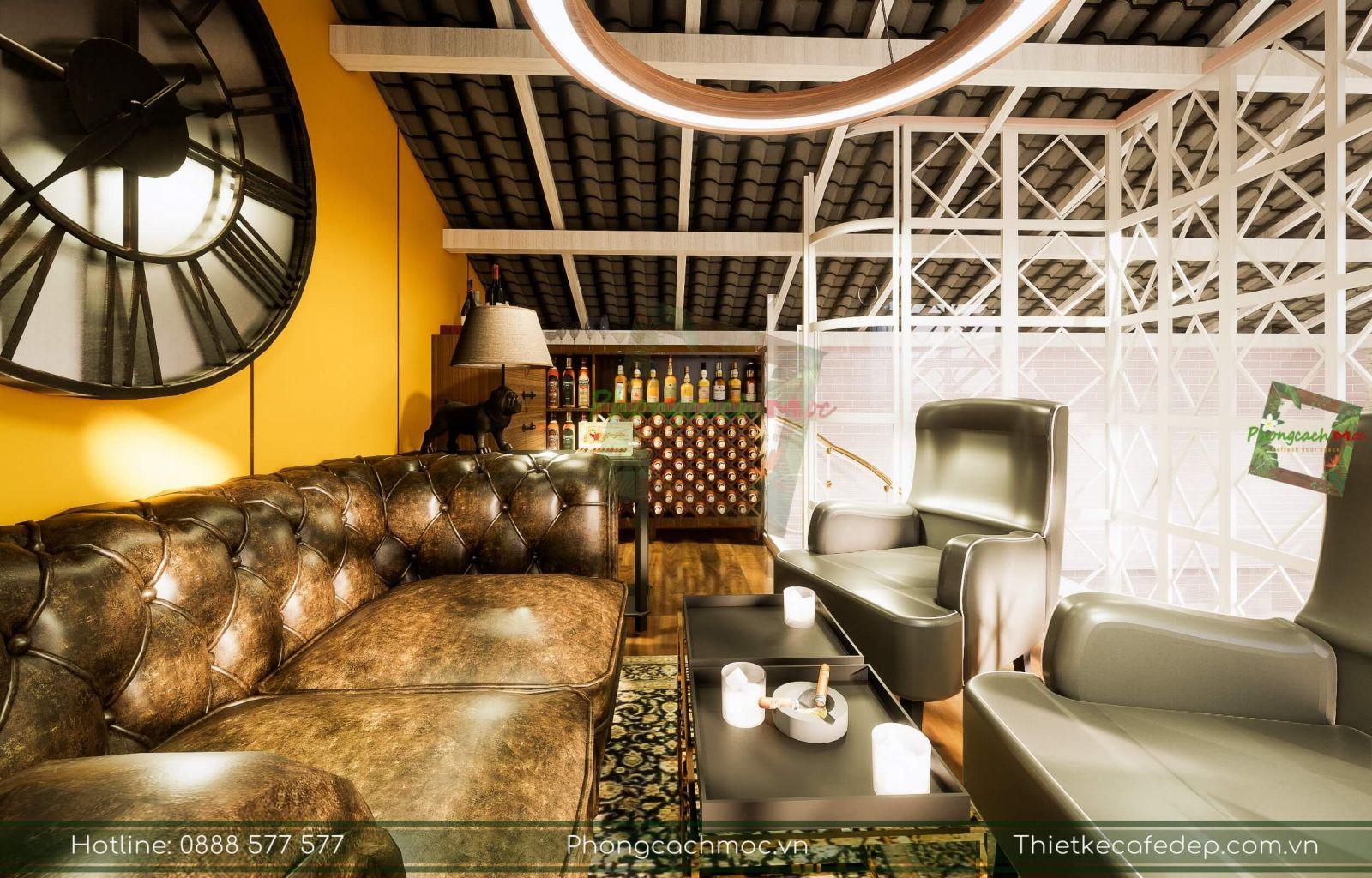 thiết kế sử dụng bộ bàn ghế sofa cao cấp dành cho nội thất quán cafe