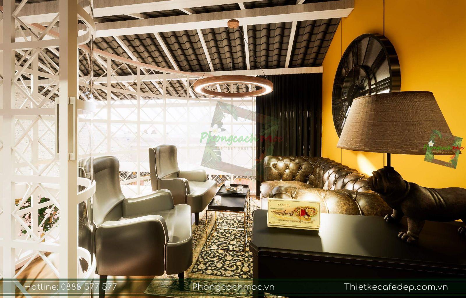 bày trí nội thất quán cà phê chủ đề tân cổ điển