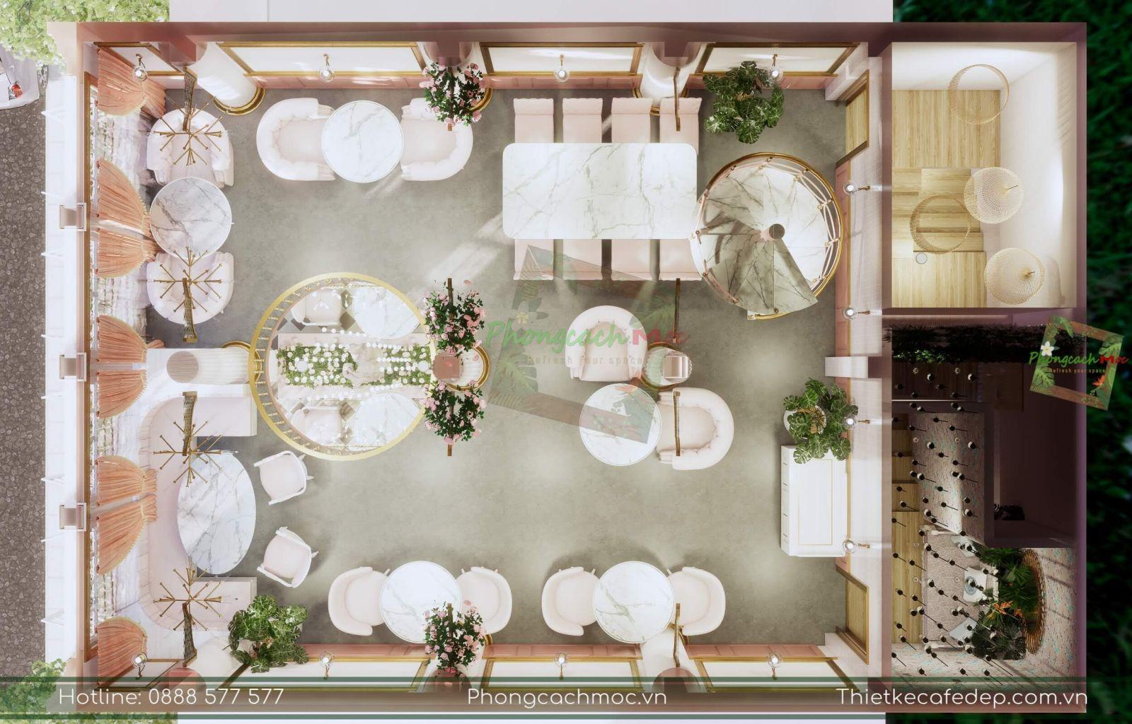 thiết kế layout concept quán cafe chủ đề tân cổ điển