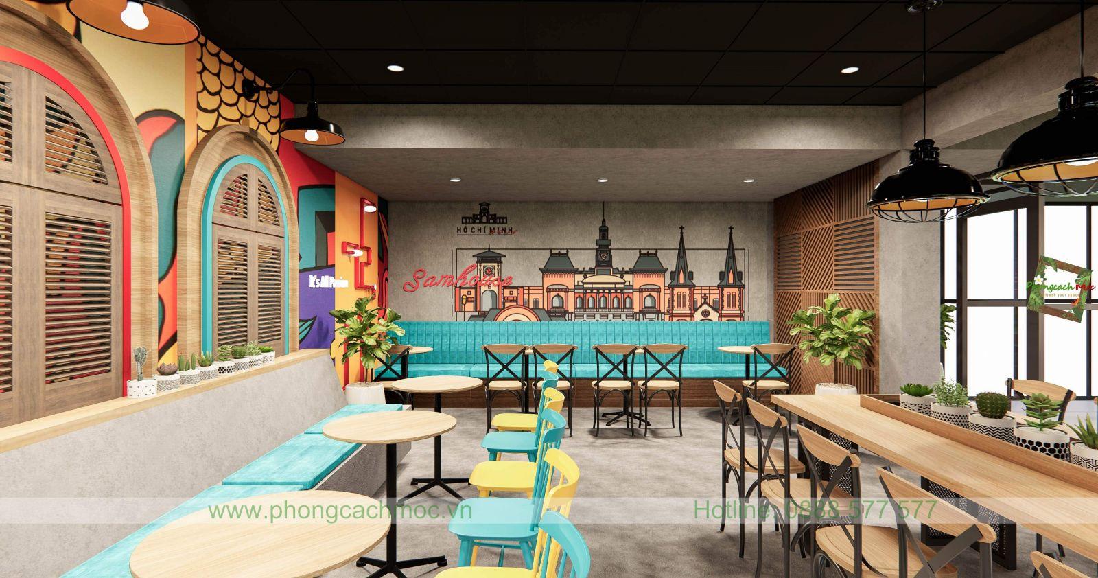 thiết kế quán cafe dựa theo diện tích quán