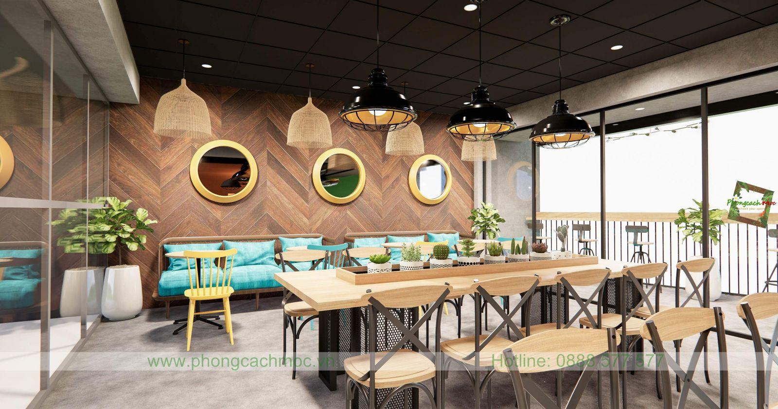 thiết kế quán cafe sử dụng ánh sáng tự nhiên