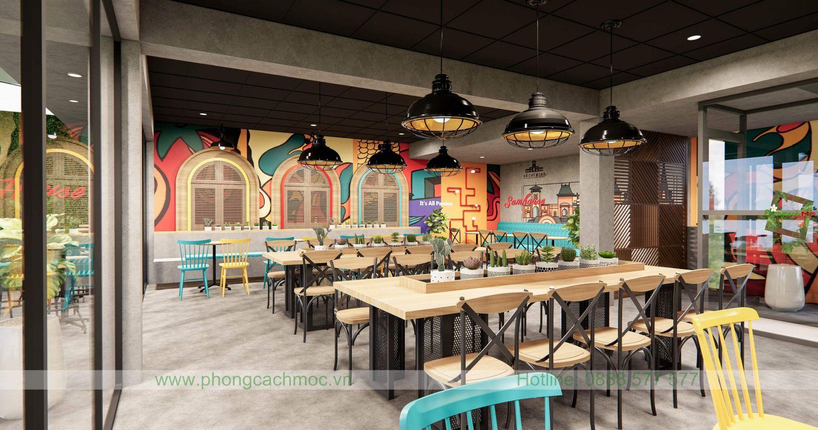 thiết kế đèn trần quán cafe industrial
