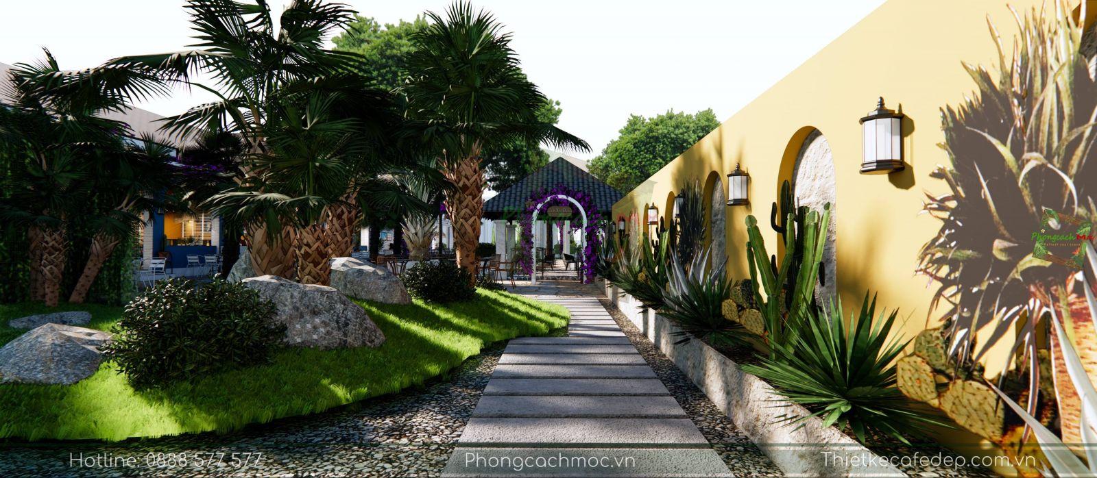 không gian sân vườn quán cafe victoria coffee